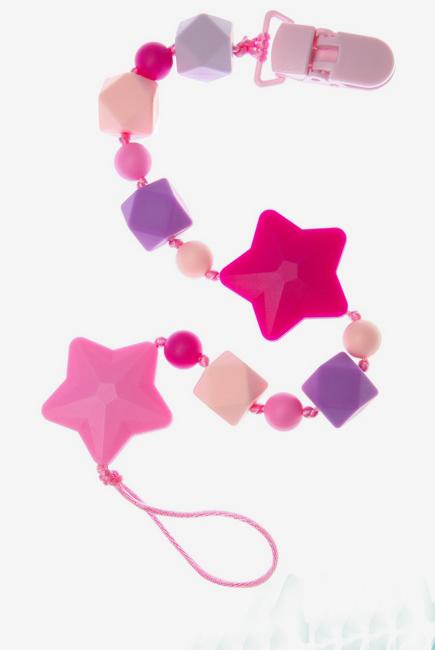 Силиконовый держатель на клипсе Звездопад, розовый