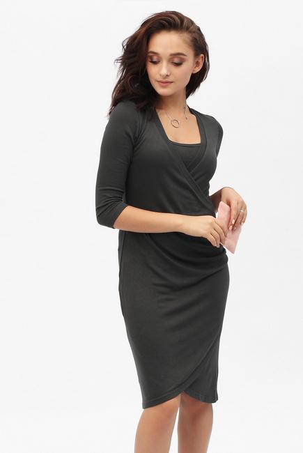 0afe7ade3af8 Платье для беременных и кормящих со складками, графит СКИДКА ...