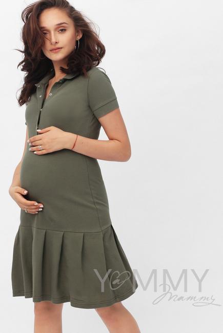 Платье для кормящих и беременных поло с воланом, цвет хаки - купить ... 8b5c8b35c2e
