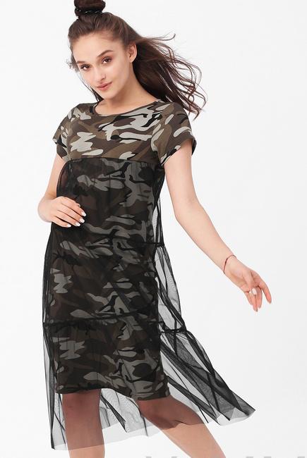 Платье для кормящих и беременных милитари с сеткой, хаки черный ... 968598561a9