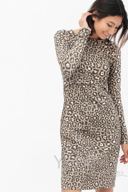 Платье-футляр для кормящих и беременных, с леопардовым принтом ... 47e87cbfea0