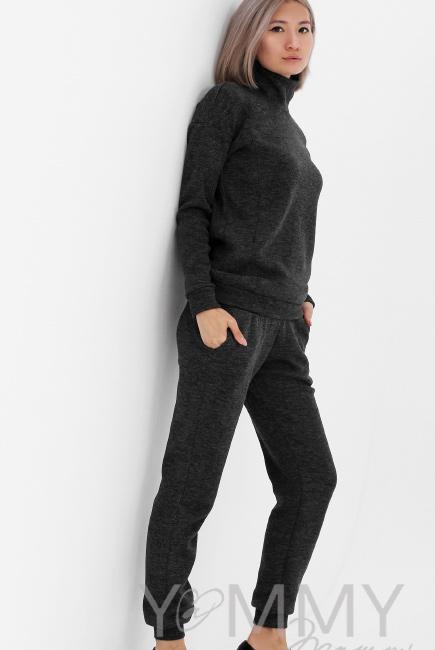 ac7831fc5262 Костюм для кормящих и беременных из плотного вязанного трикотажа, цвет  темно-серый меланж ...
