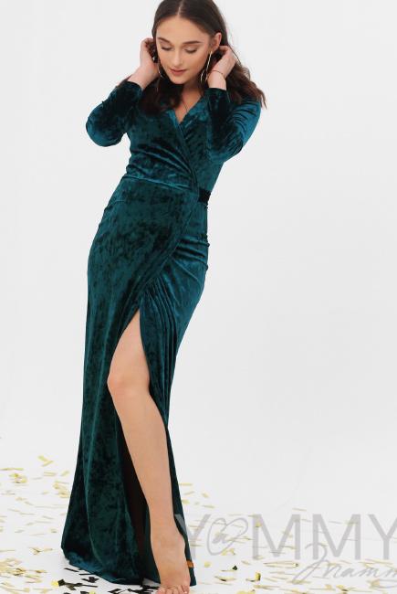 0d01561ca89 Вечернее платье для кормящих и беременных длинное бархатное на запах ...