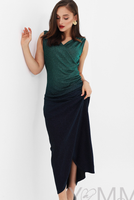 Вечернее платье для кормящих и беременных длинное с градиентом, цвет  изумрудный ... 3db17933735