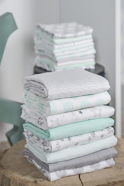 Комплект муслиновых пеленок для новорожденных Jollein, mint/lagoon/white