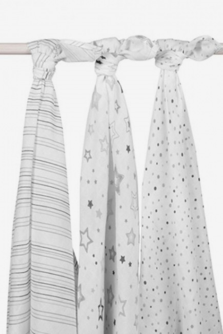 Муслиновые пеленки для новорожденных Jollein большие, Stardust grey (звездная пыль-серые)