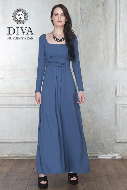 Платье для кормящих и беременных Diva Nursingwear Stella Maxi дл.рукав, цвет Notte