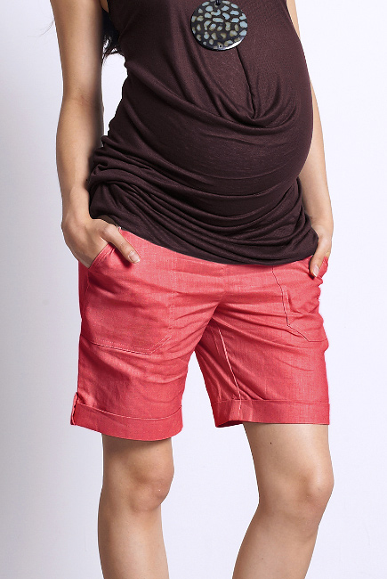 Шорты для беременных и родивших Mothers en Vogue Boardwalk длинные, маковый