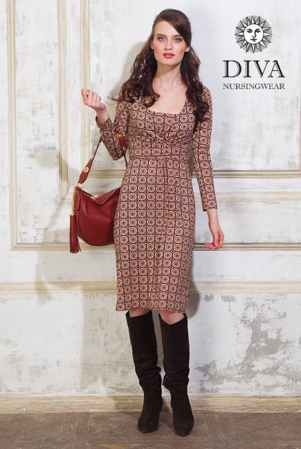 Платье для кормящих и беременных Diva Nursingwear Alba дл.рукав, принт Sole