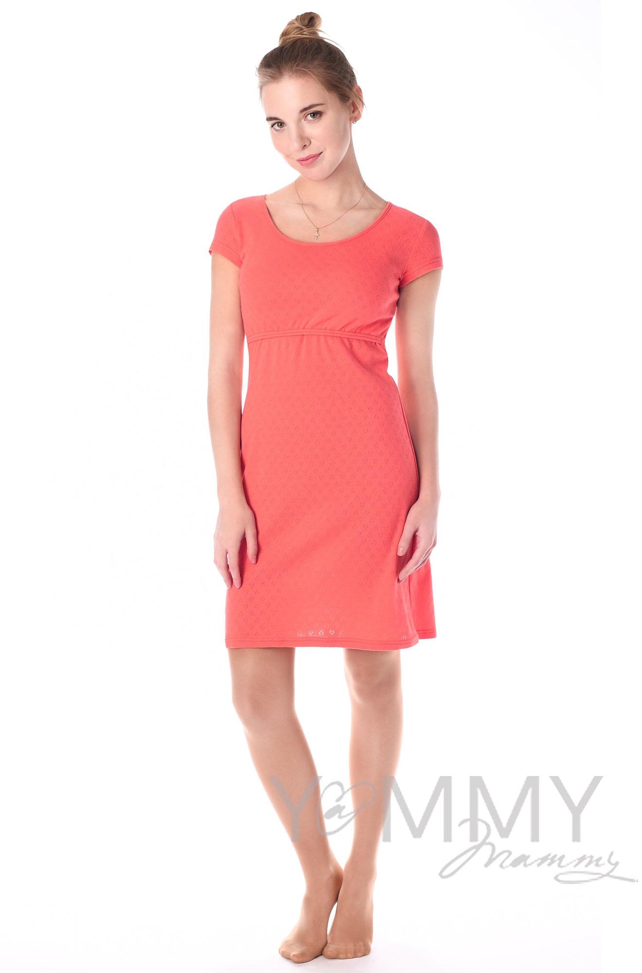 Платье для дома и сна ажурное коралл