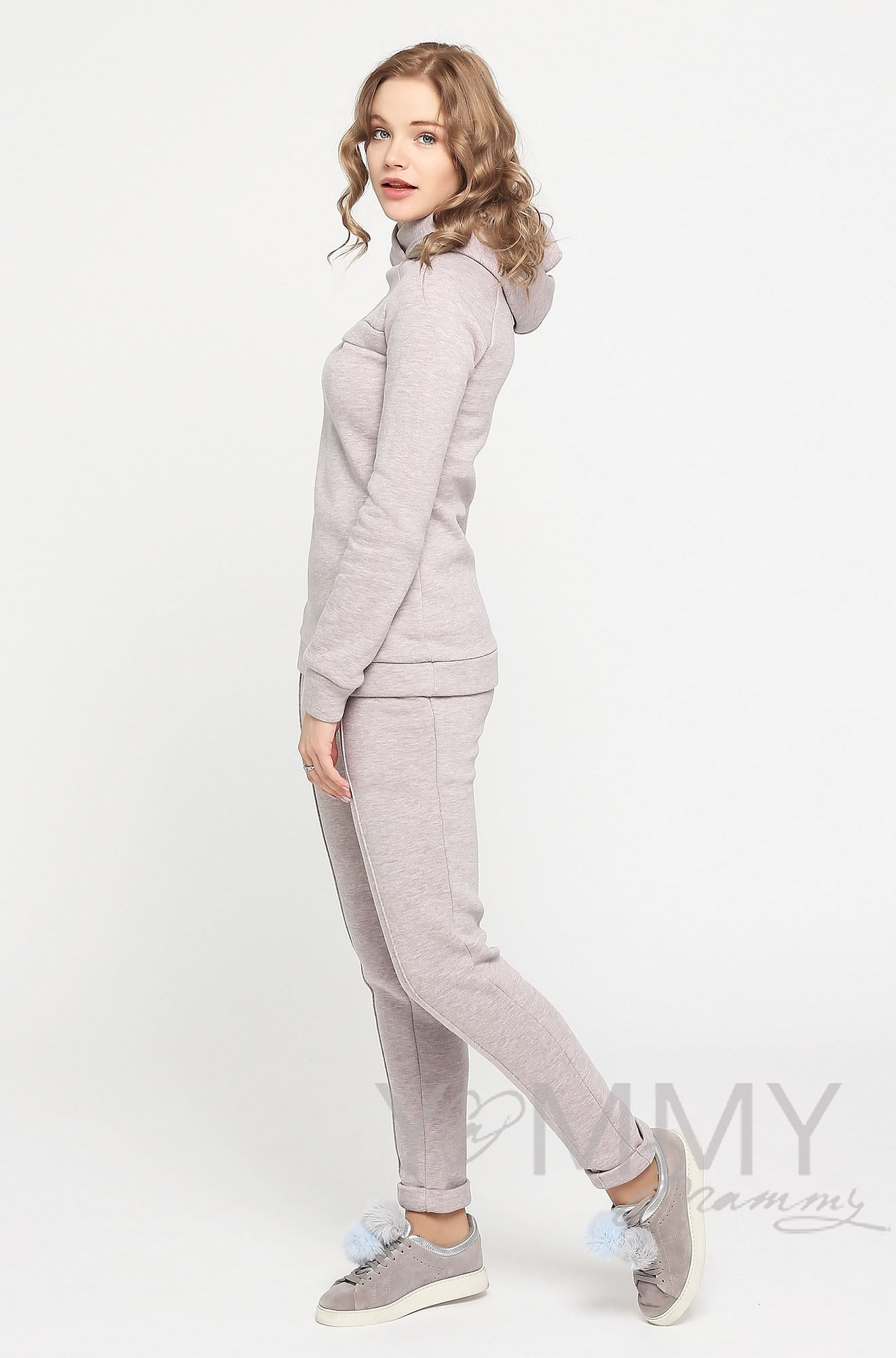 Теплый костюм для беременных и кормящих, цвет бежевый меланж