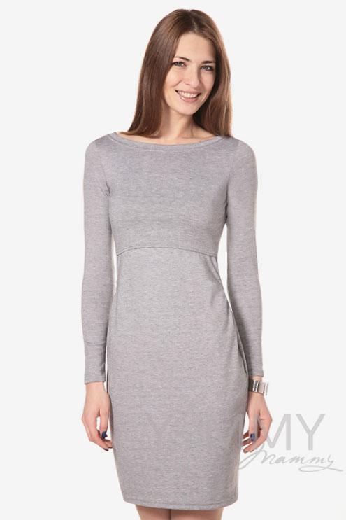 """Платье для беременных и кормящих с горловиной """"лодочка"""", серый меланж"""
