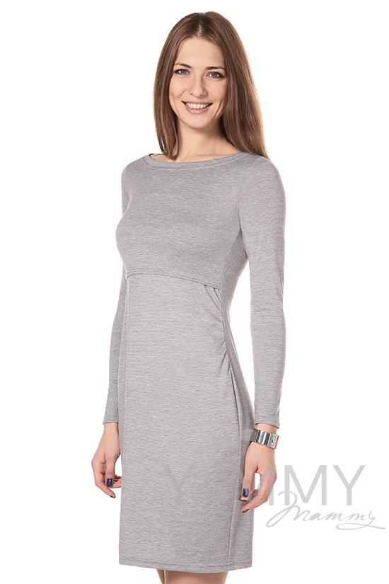 """Платье с горловиной """"лодочка""""серый меланж для беременных"""
