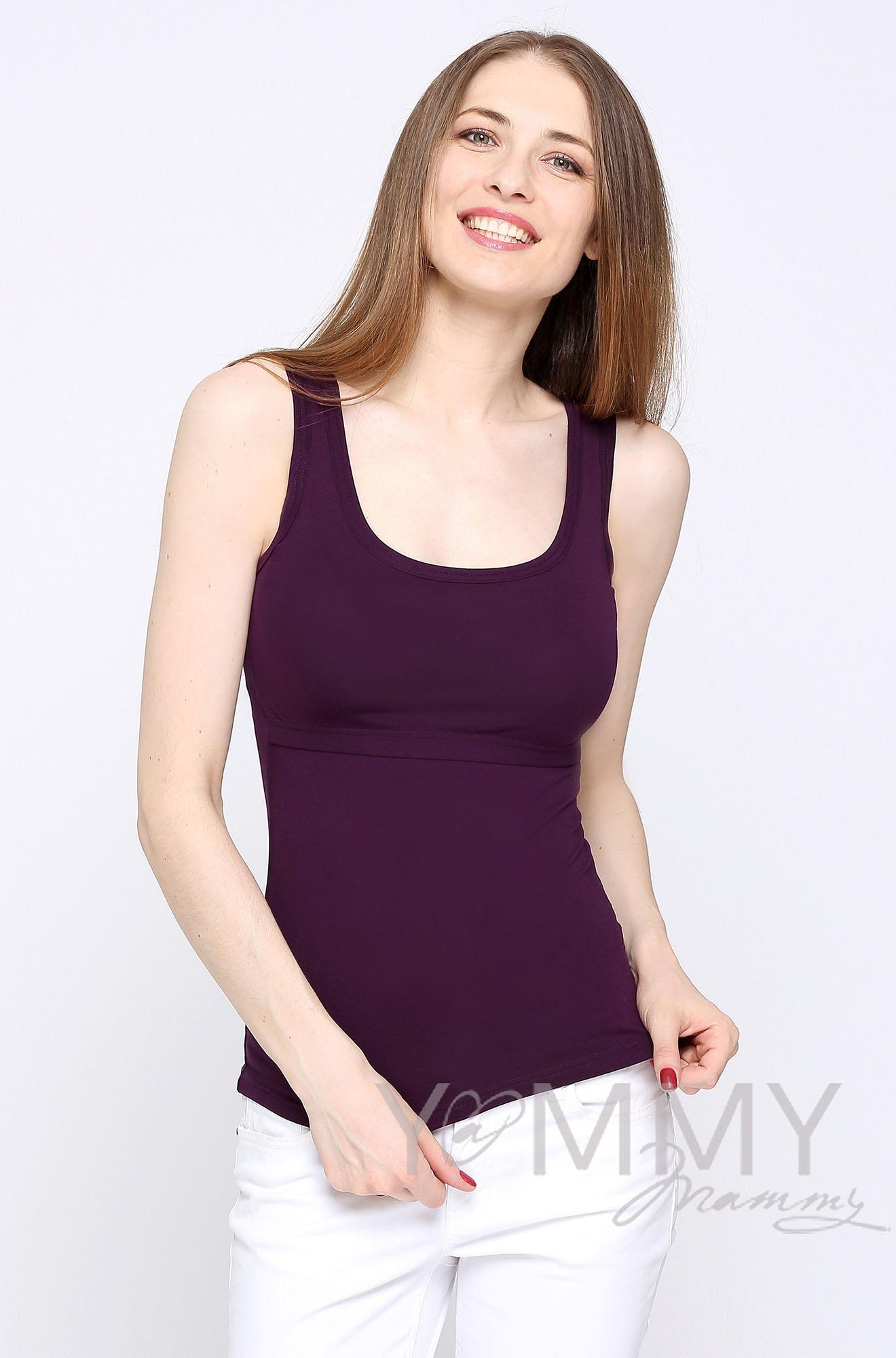 Майка для кормящих и беременных, цвет темно-лиловая