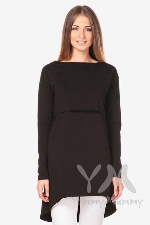 Платье-туника для беременных и кормящих с длинным рукавом, чёрное