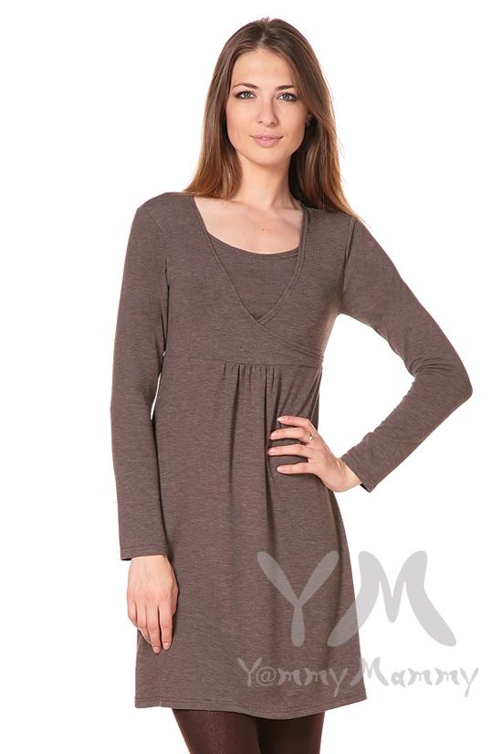 Платье с пояском на спине для кормящих и беременных, мускат меланж