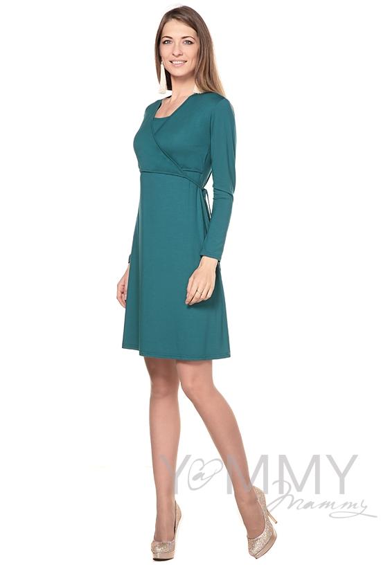 Платье на запах для беременных и кормящих, изумруд