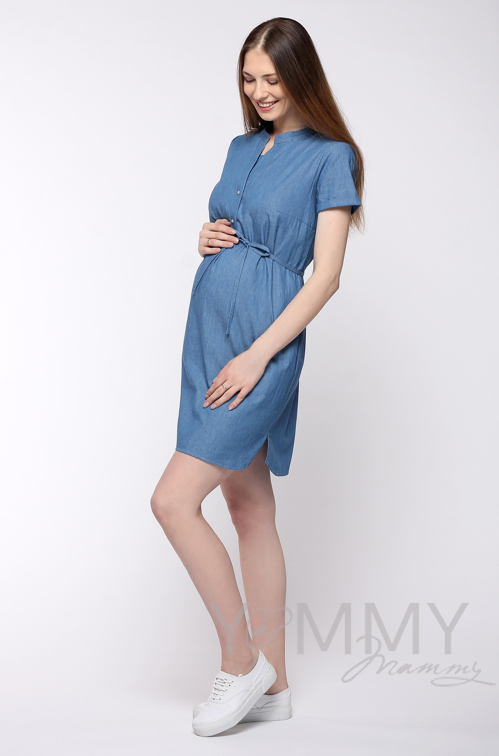 Платье-рубашка джинсовое с коротким рукавом для кормящих