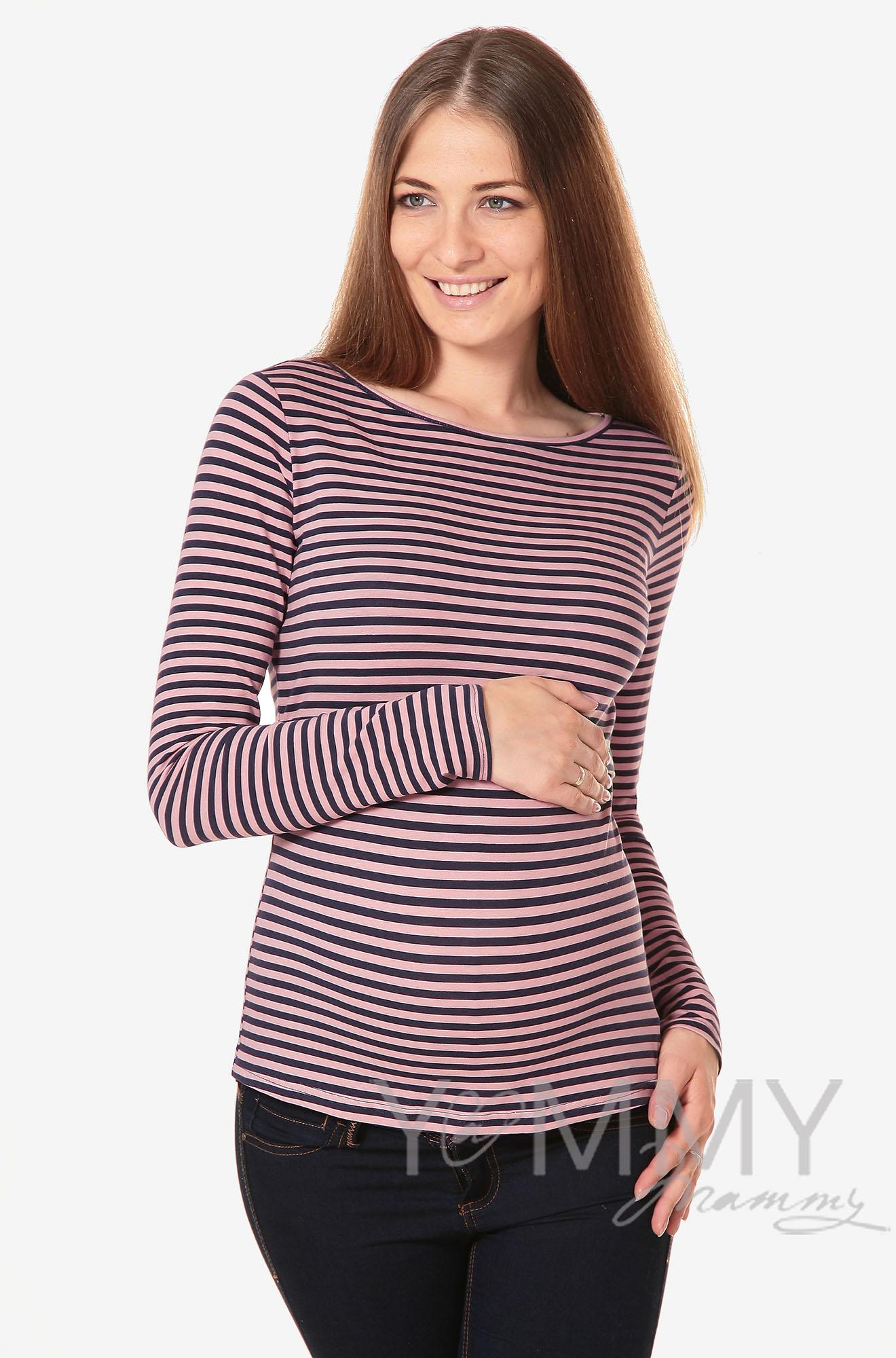 Лонгслив для беременных и кормящих, розовый в синюю полоску
