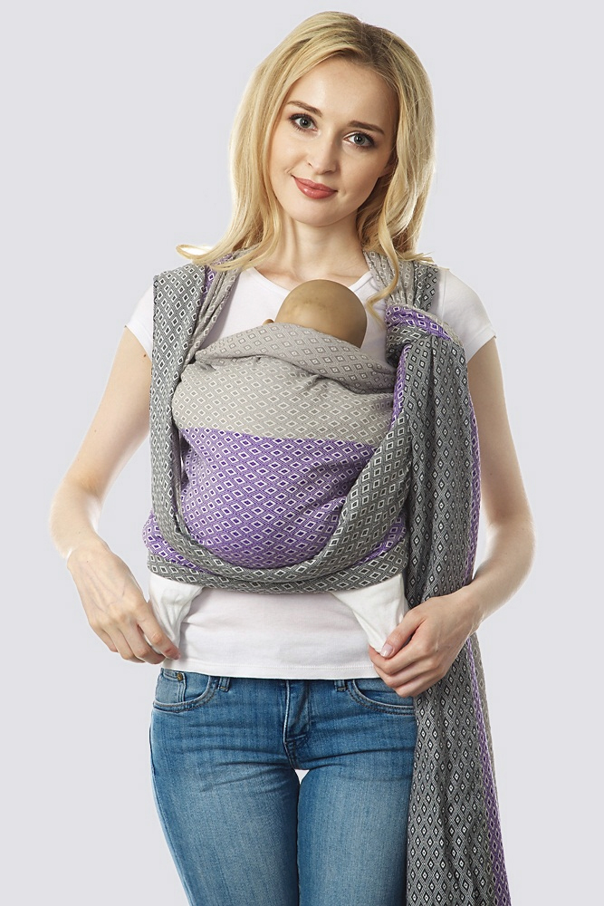 Слинг-шарф алмазного плетения, жемчужно-сиреневый