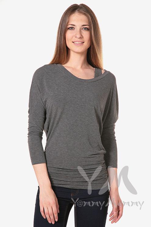 Блуза летучая мышь для беременных и кормящих, серый меланж