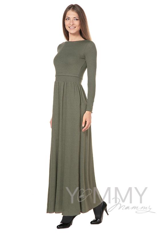 Платье для кормящих и беременных с карманами, хаки