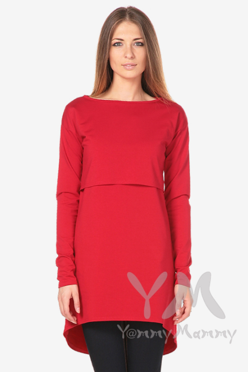 Платье-туника для кормящих и беременных с длинным рукавом, красное