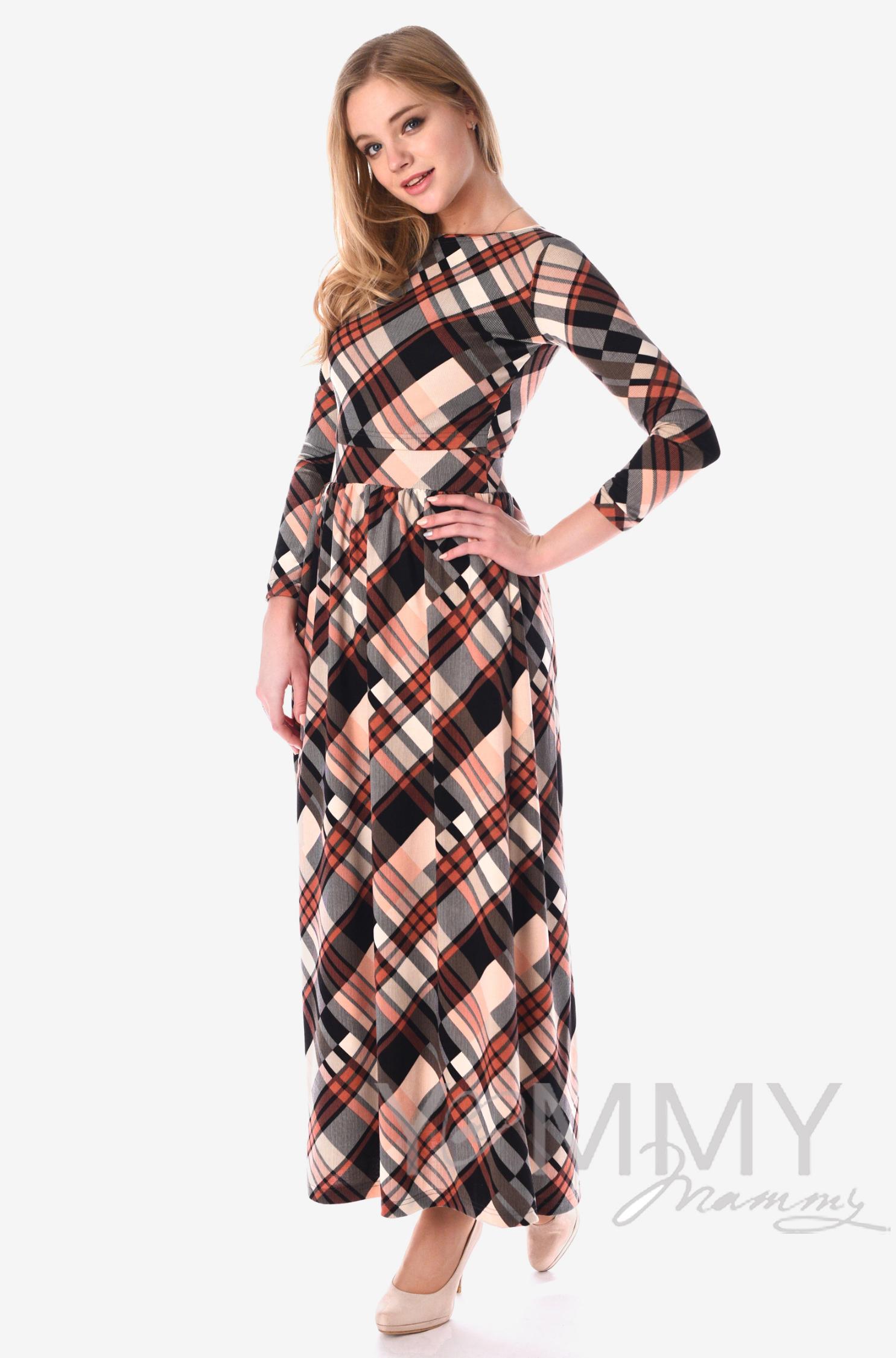 Платье для кормящих и беременных с карманами, в розовую/серую клетку