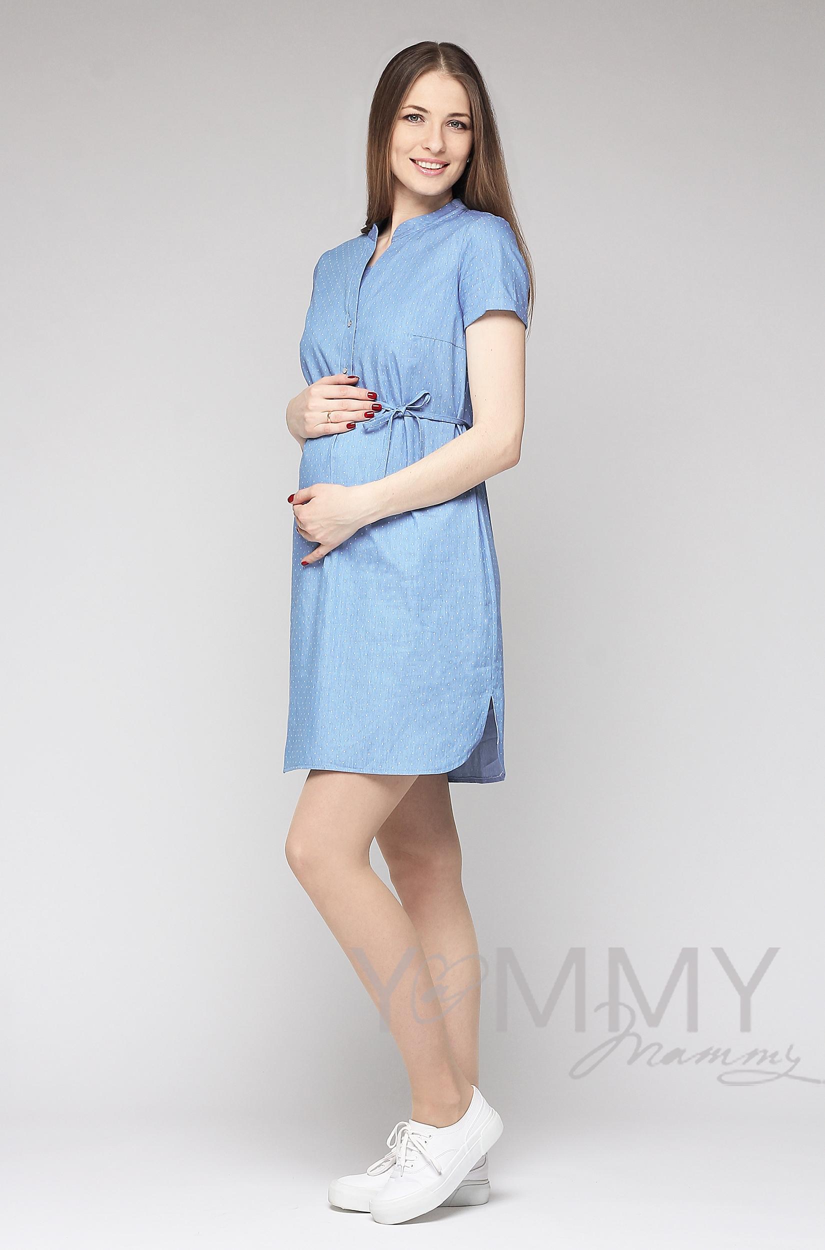 Платье-рубашка для беременных и кормящих, джинсовое в белый горошек