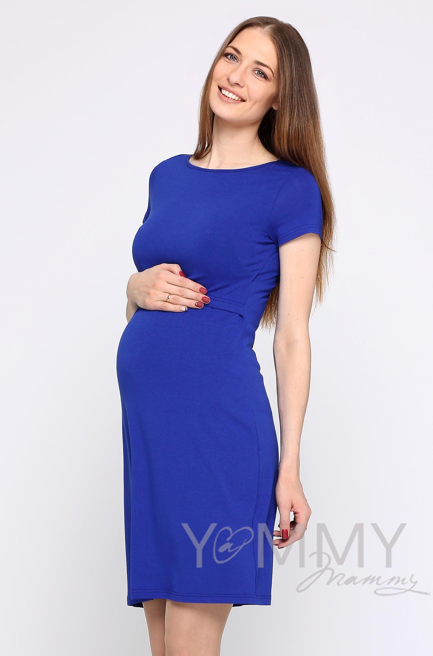 Платье для беременных и кормящих из вискозы, ультрамарин