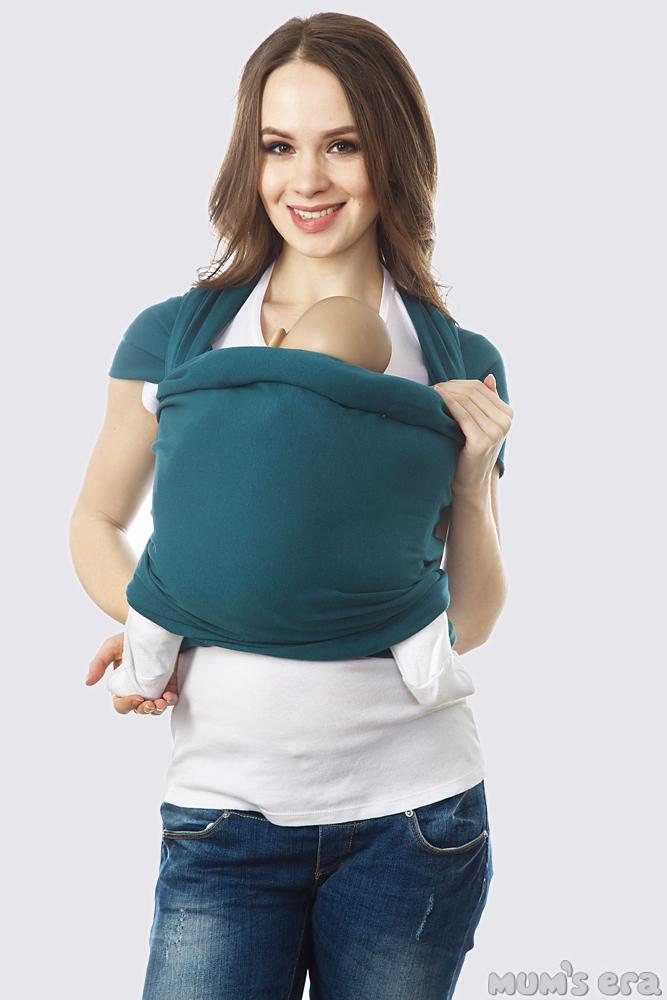 Слинг-шарф трикотажный, сине-зеленый