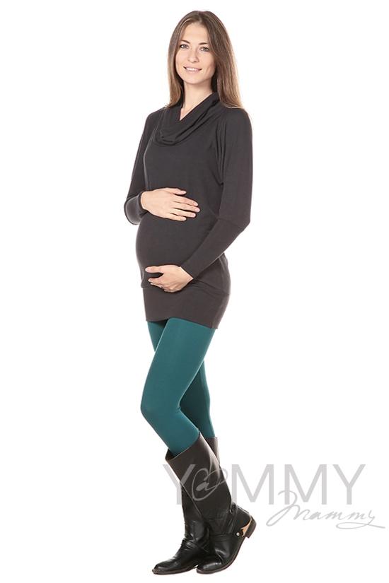 Лосины для беременных, изумрудные из модала