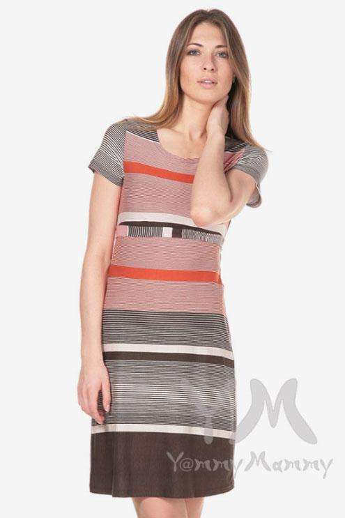 Платье с пояском для беременных и кормящих, теракот