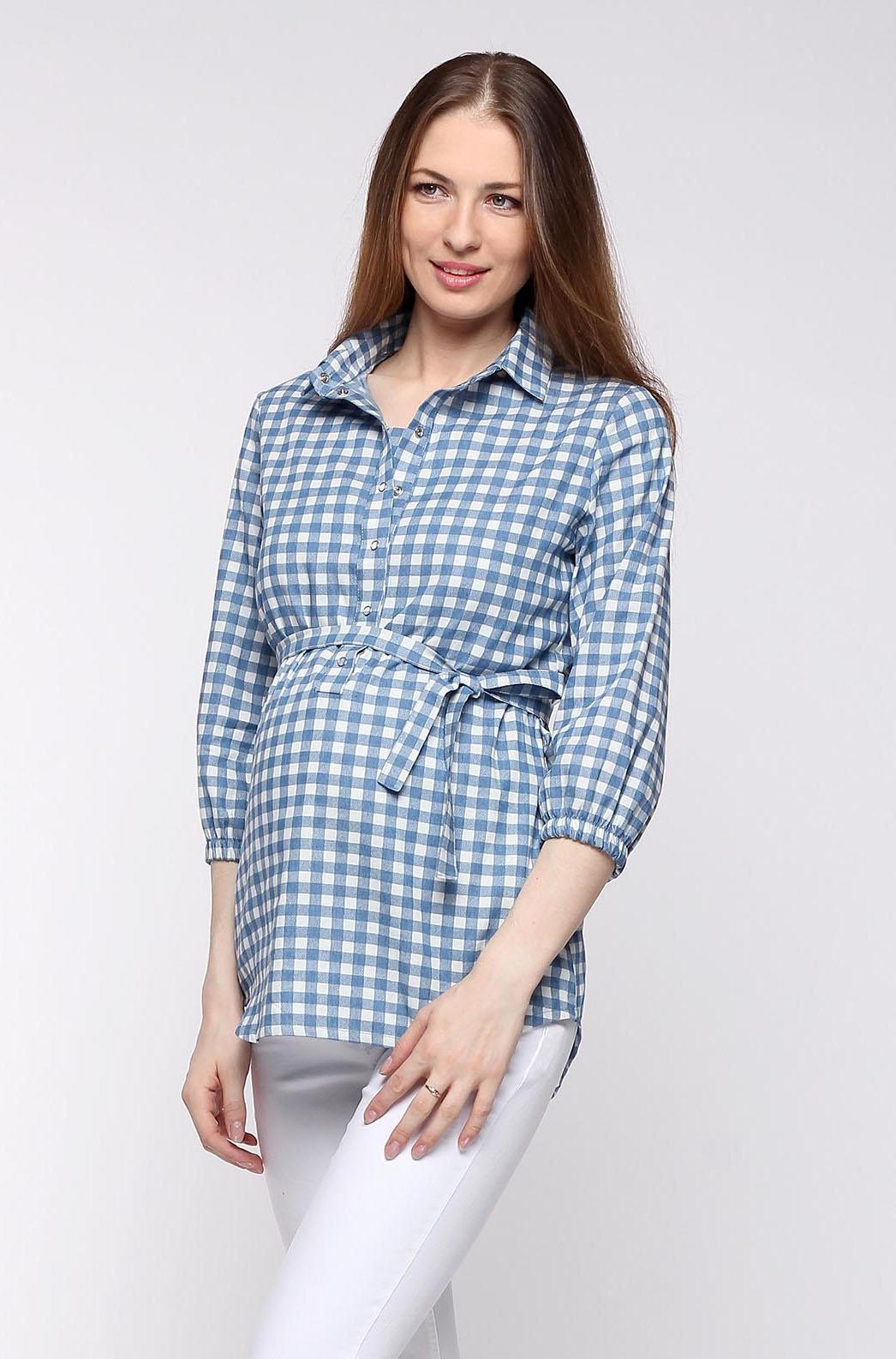 Рубашка для беременных и кормящих джинсовая, голубая в клетку