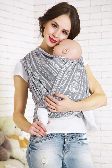 Слинг-шарф Слоны, серый