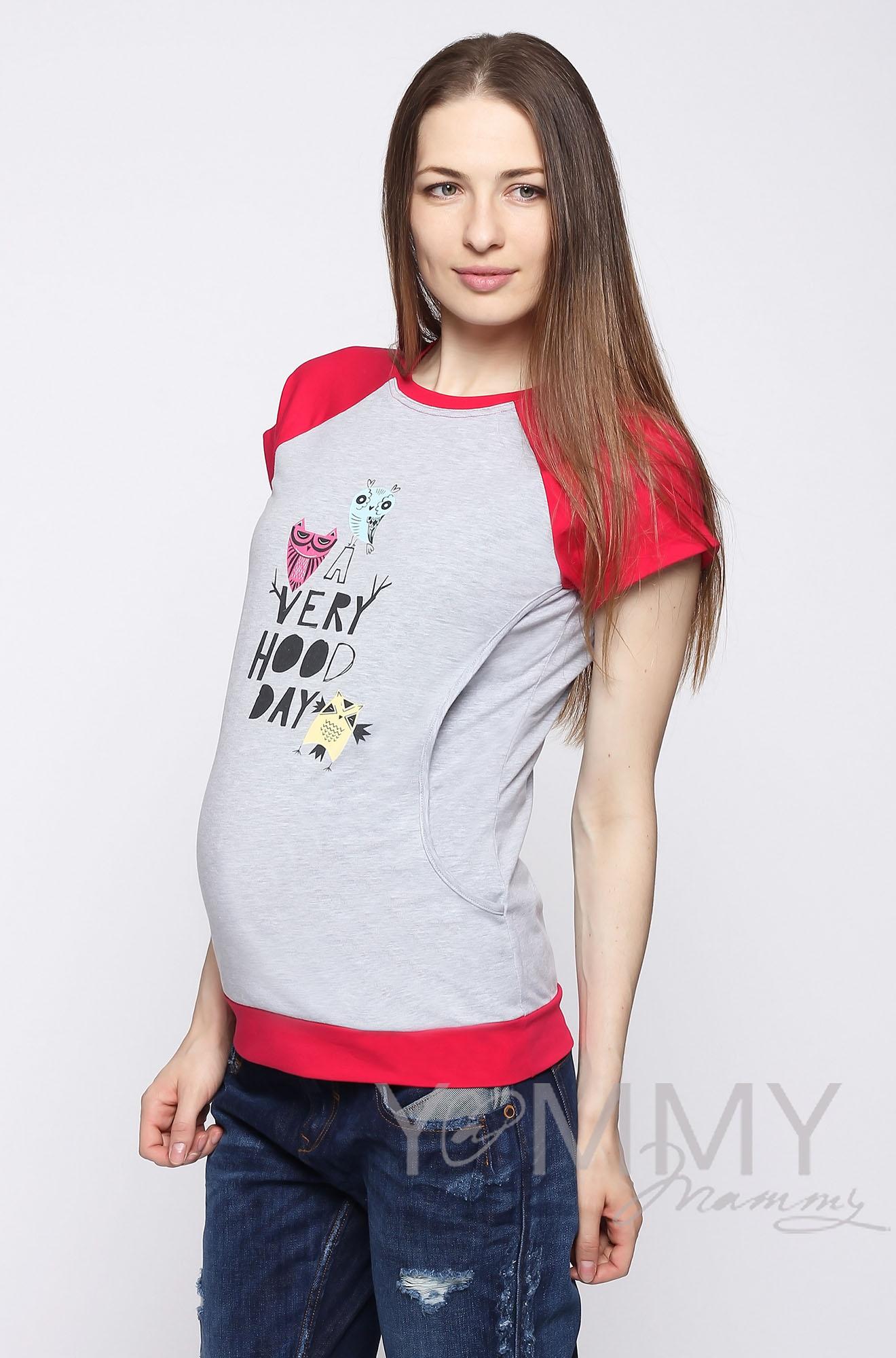 Футболка для кормящих и беременных, серый меланж/фуксия с принтом