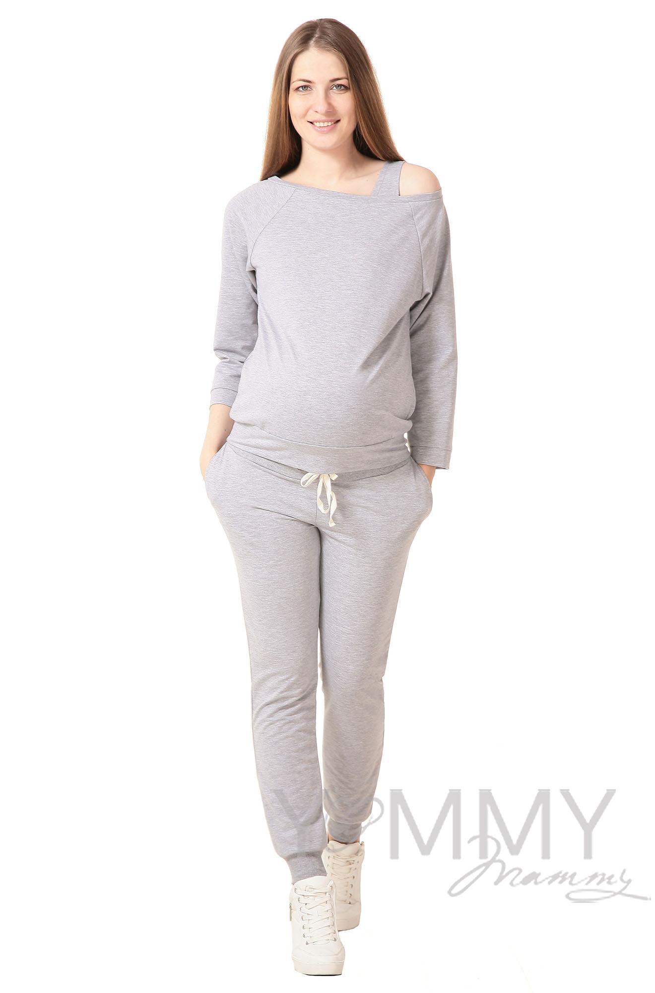 Джемпер для беременных и кормящих со спущенным плечом, светло-серый меланж