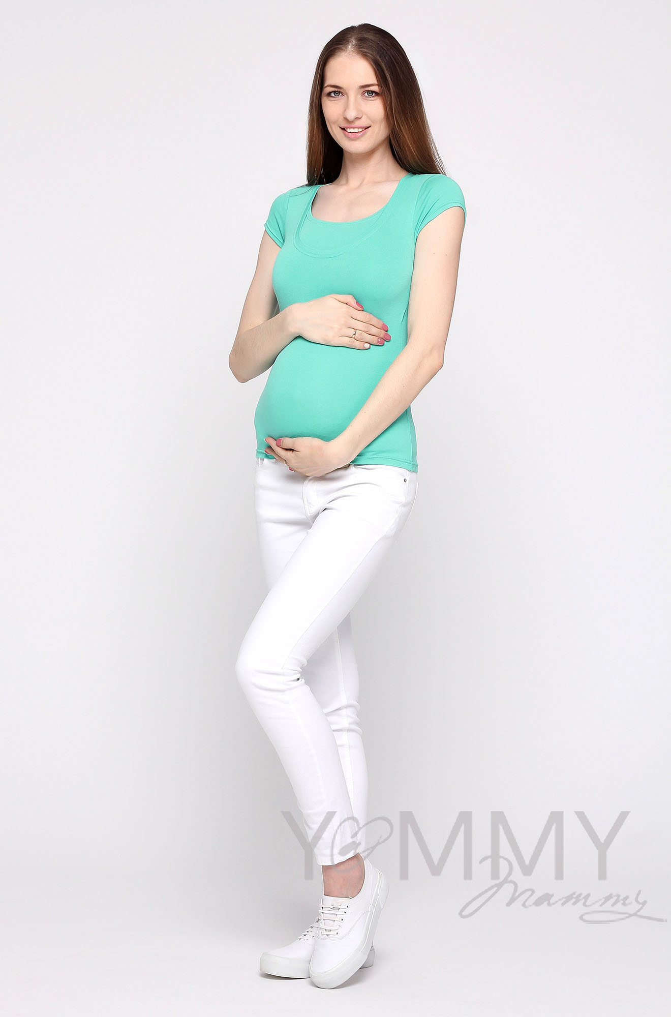 Футболка для кормящих и беременных, цвет ментол