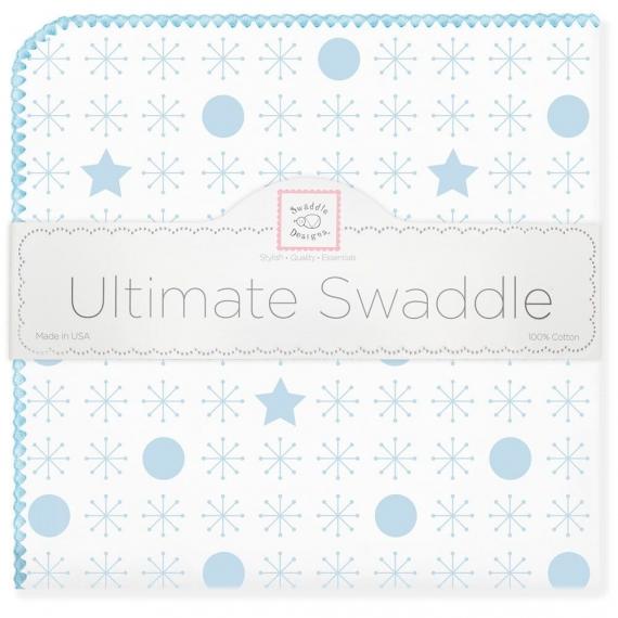 Фланелевая пеленка для новорожденного SwaddleDesigns Ultimate Jax & Stars Blue