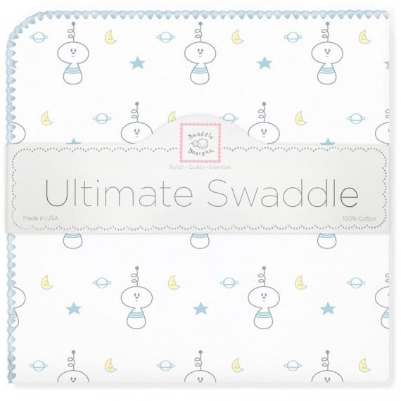 Фланелевая пеленка для новорожденного SwaddleDesigns Ultimate Space Friend Blue