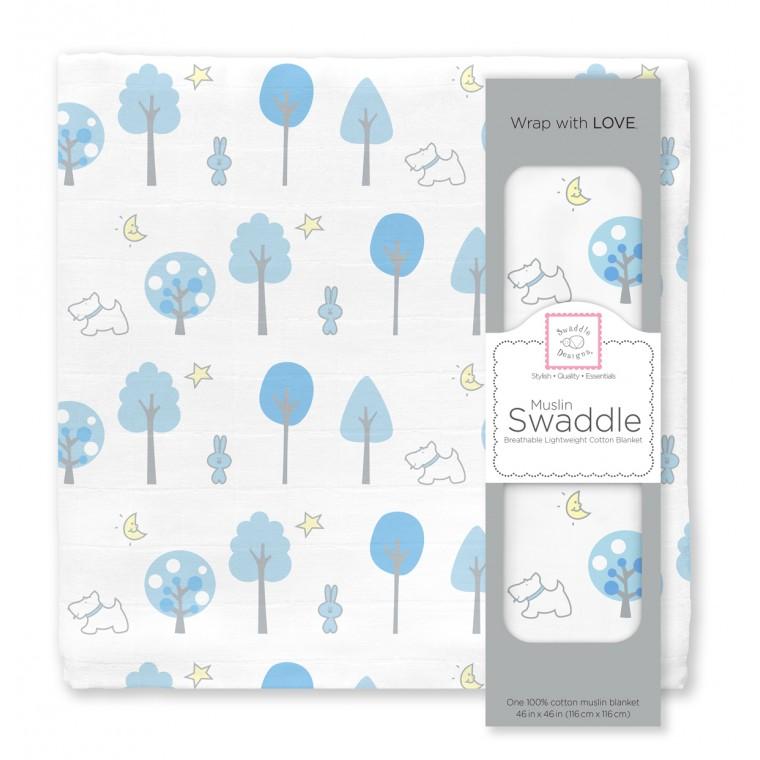 Муслиновая пеленка для новорожденных Swaddle Designs большая, Blue Forest