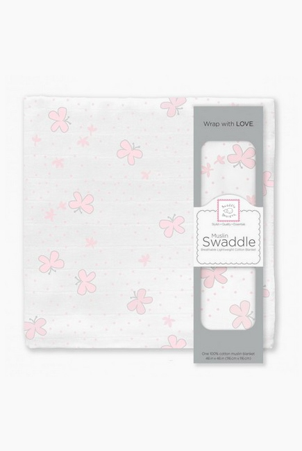 Муслиновая пеленка для новорожденных Swaddle Designs большая, Pstl Pink Butterflies