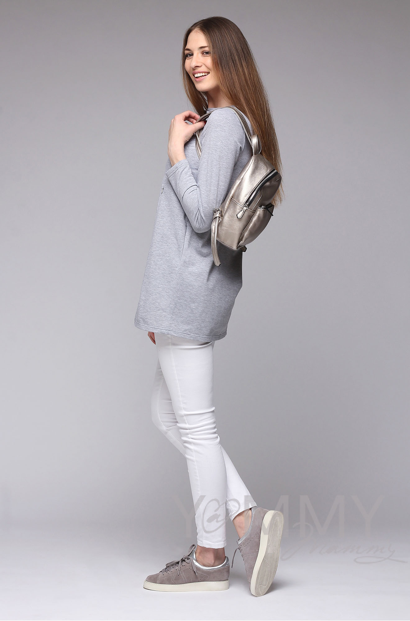 Туника с фигурным низом для беременных и кормящих, серый меланж