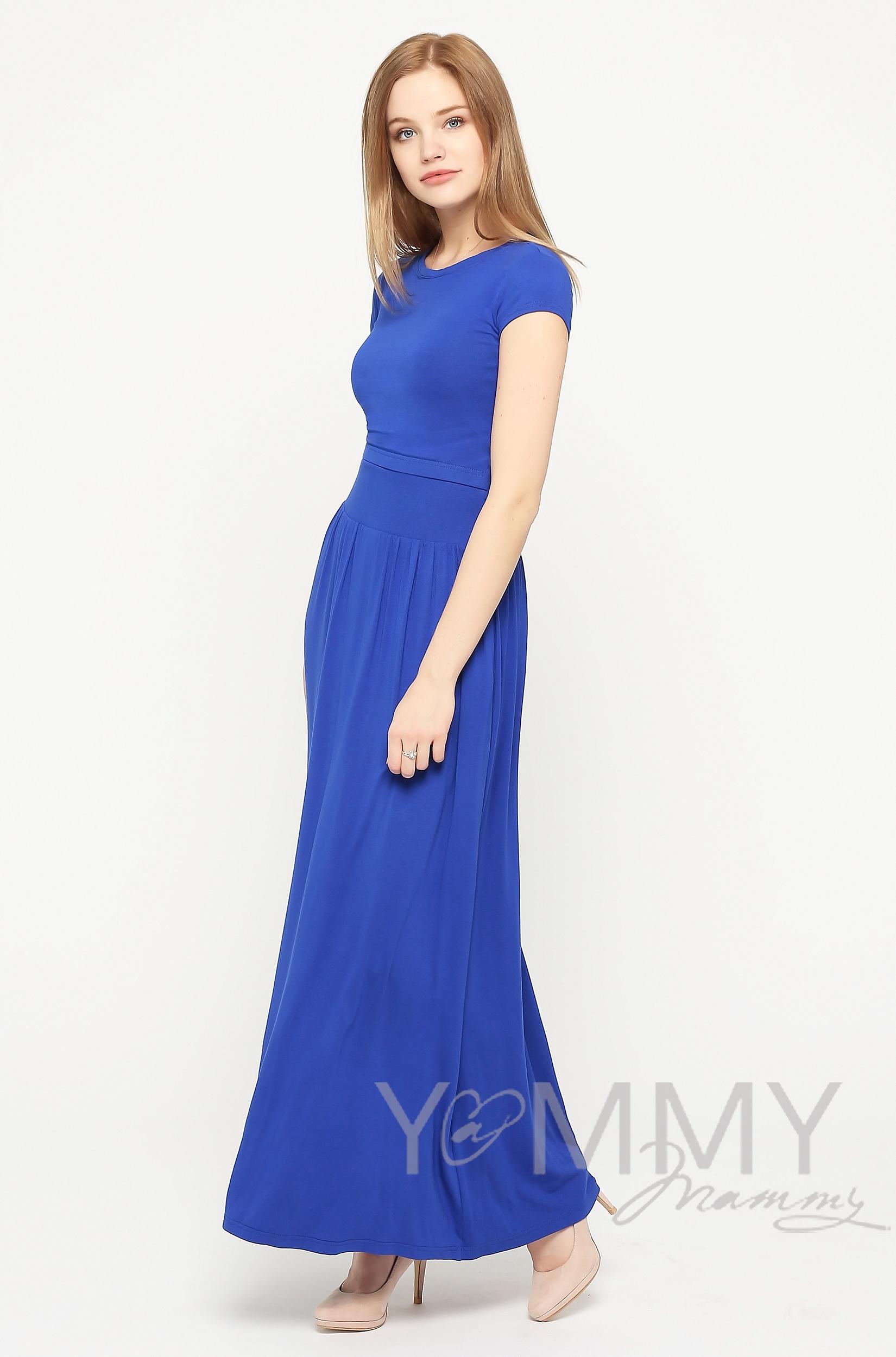Платье длинное для беременных и кормящих с карманами, ультрамарин