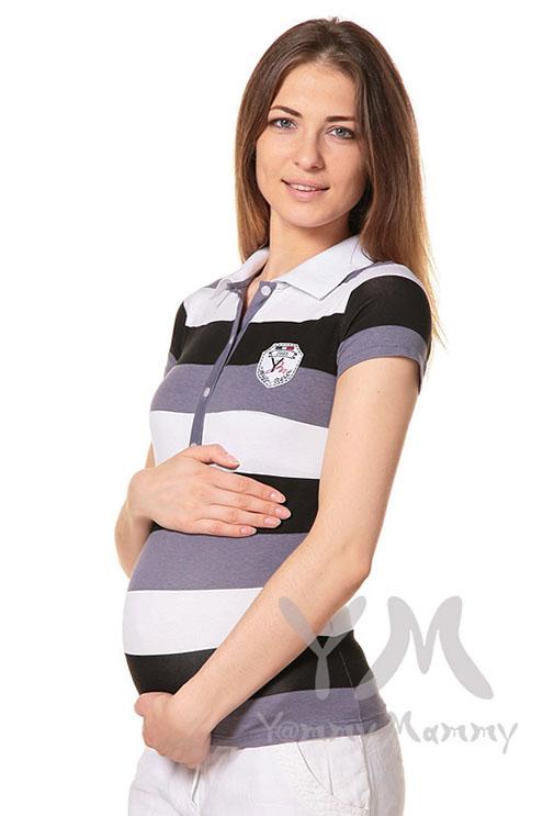 Футболка поло для кормящих и беременных, графитовая полоса
