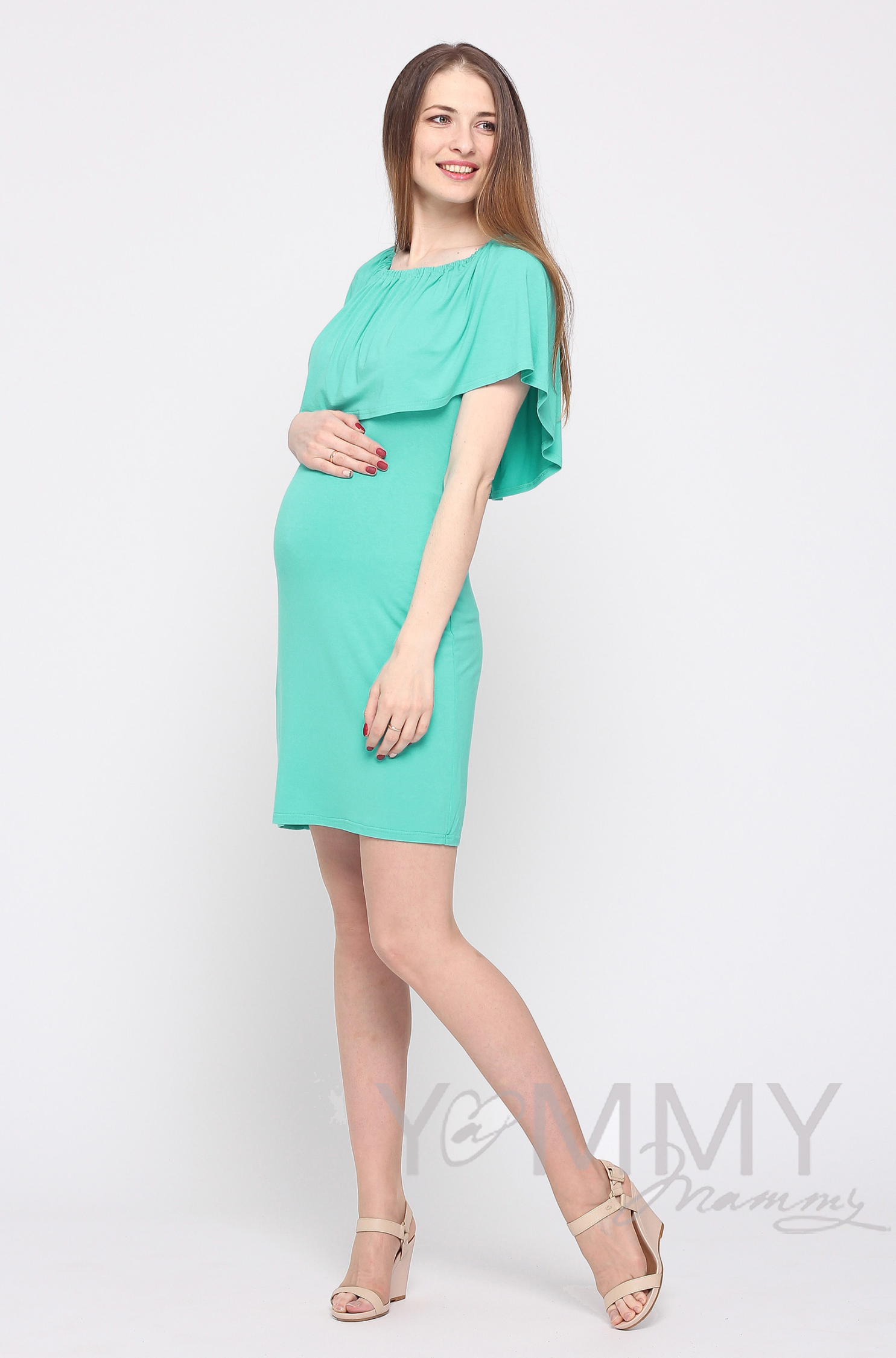 """Платье """"майка"""" для кормящих и беременных с воланом на плечах, ментол"""