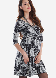 Платье Mothers en Vogue Wrap Dress, рукав 3/4 принт Floral