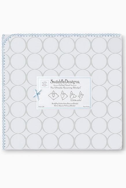 Фланелевая пеленка для новорожденного SwaddleDesigns Пастель круги голубая
