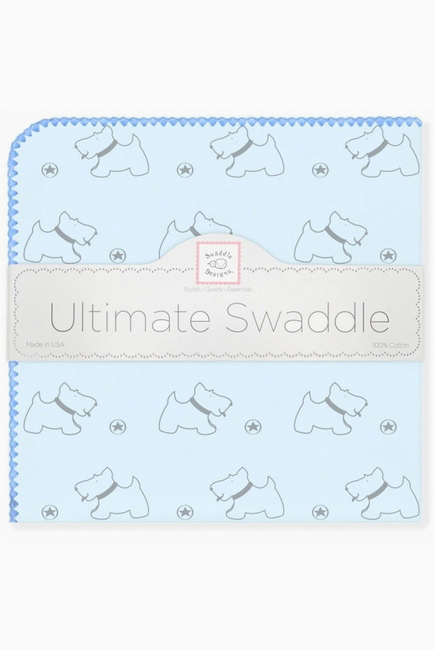 Фланелевая пеленка для новорожденного SwaddleDesigns Ultimate Gray Doggie Blue