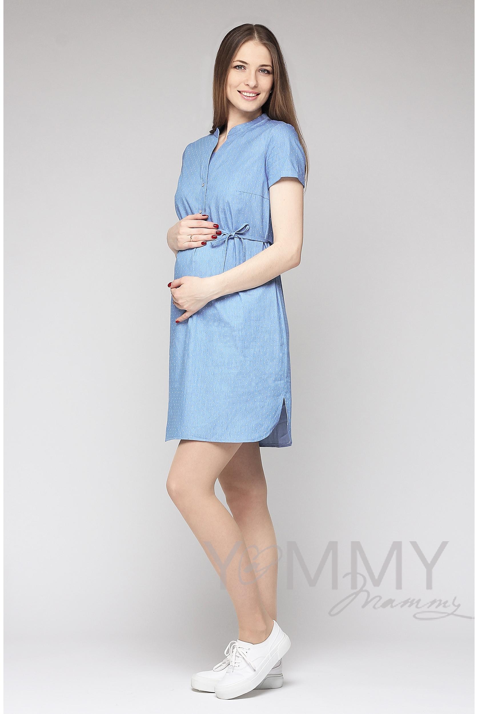 69a679d86eb8 Платье-рубашка для беременных и кормящих, джинсовое в белый горошек ...